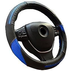 Semoss Universal Lenkradhülle Echt Leder Sports Lenkradbezug Lenkradabdeckung Lenkradschoner Auto Mit Stitch,dimension:37-38cm,farbe:schwarz Blau