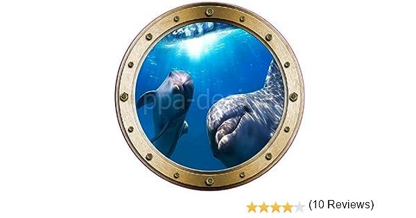 PPA DESIGN W031 Sticker Trompe loeil Hublot Tortue vue sous Marine 20x20cm