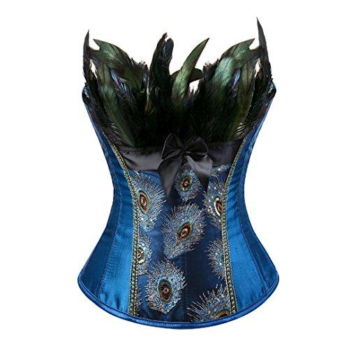 Kranchungel Damen Burlesque Vollbrust Korsett Dessous Corsage Kostüme Pfau Pattern 6X-Large (Kostüm Pfau Ein Halloween)