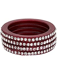 Bangle Set | Maroon Color | Made Of Lac | Bangle Set For Women (bangles27-01_2-6, Maroon) - By The Lakh