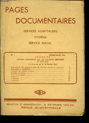 Pages documentaires - services hospitaliers hygiene service social - 8 numeros