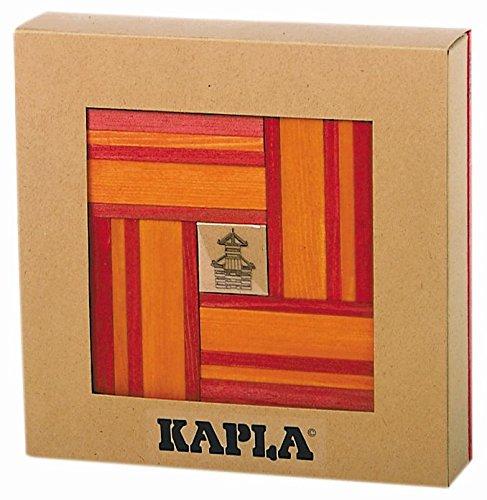 Kapla 9000106 Holzplättchen 40er Box, 20 Rot und 20 orange Buch