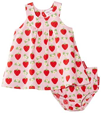 Toby Tiger Baby-Girls Cotton Baby Strawberry with Frilly Pants Set Dress, Pink, 0-3 Months