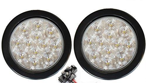 Paar 2LED 10,2cm rund Backup Reverse Licht Kits enthalten Tülle, Plug Clear Lens Weiß Light Truck Trailer RV 25108C-wk (Trailer Licht-kit Led 80 über)
