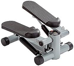 GORILLA SPORTS® Mini-Stepper mit Zugbändern und Trainingscomputer - Heimtrainer Schwarz bis 110 kg belastbar