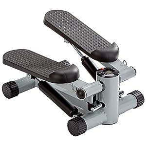 GORILLA SPORTS® Mini-Stepper mit Zugbändern und Trainingscomputer – Heimtrainer Schwarz bis 110 kg belastbar