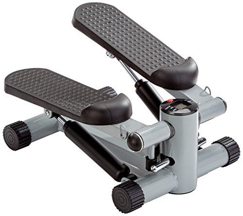 GORILLA SPORTS Mini-Stepper mit Zugbändern und Trainingscomputer – Heimtrainer Schwarz bis 110 kg belastbar