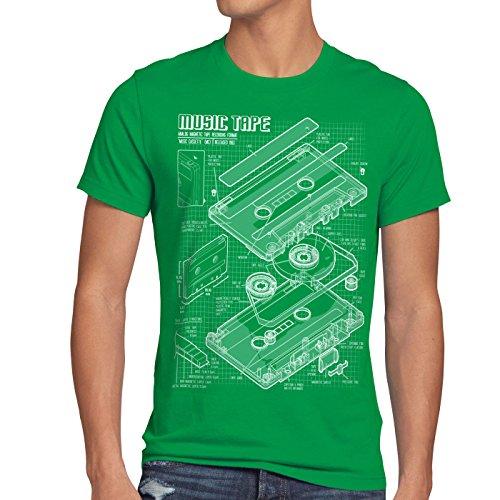 style3 Tape Blaupause Herren T-Shirt dj musikkassette turntable retro, Größe:L;Farbe:Grün