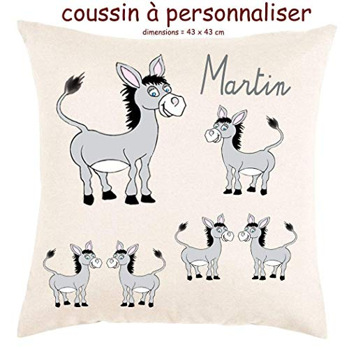 Coussin avec sa Housse Doucher très doux Ane Personnalisable avec un Prénom Exemple Martin
