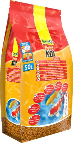 Tetra Pond Koi Sticks (schwimmfähiger Futtersticks speziell für Koi), 50 Liter Eimer Beutel