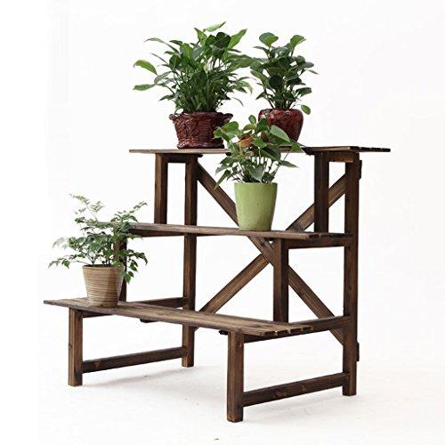 Support de fleur en bois. Support de fleur trapézoïdal à trois niveaux de Balcon de plancher anti-corrosif carbonisé, Support de pot de fleur à gradins en bois, Support de fleur de balcon en bois massif