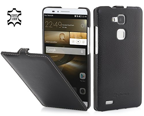 StilGut UltraSlim Case, Hülle aus Leder für Huawei Ascend Mate 7, schwarz