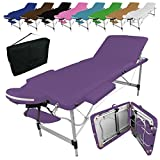 Linxor France ® Table de massage pliante 3 zones en aluminium + accessoires et housse de transport - Neuf coloris - Norme CE