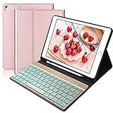 BORIYUAN Tastatur Hülle Kompatibel für iPad 2018 (6 Gen)- iPad 2017 (5 Gen) - iPad Air 2/1 - Automatischer Schlaf/Aufwachen Hülle mit Hinterleuchtet Bluetooth Tastatur (German), Rosegold