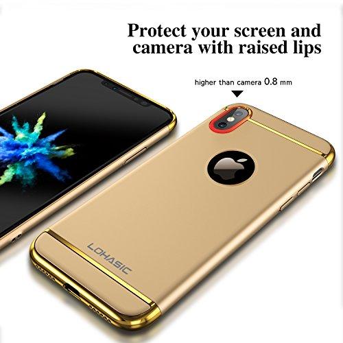 Coque iPhone X, Ultra Slim Leger Hybride Housse Bumper Luxe 3 en 1 Protection Complète (Texture de Téléphone nu) Antichoc Anti-empreintes Digitales Rigide Mat Étui Coque Case pour Apple iPhone X Noir Or