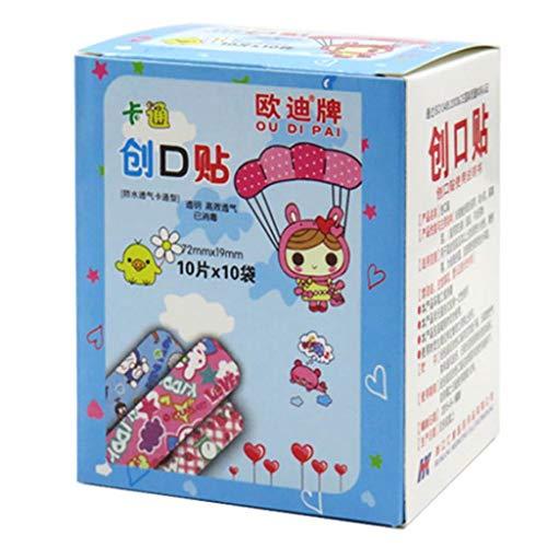 Tubicu Lot de 100 Bandages adhésifs étanches pour Enfant Motif Animaux de Dessin animé