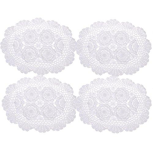 olle Spitze Platzdeckchen Deckchen 4, oval, 30,5x 43,2cm, baumwolle, weiß, 12*17 inch ()