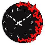 #7: Studio Shubham 3d butterfly handmade decorative wooden wall clock with (27.5cmx27.5cmx2.8cm)