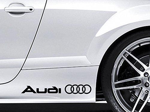 Vinyl-Aufkleber für Seitenschweller, Design: Audi-Logo, passend für Audi TT S3/ S4 /S5 /S6 /S8 /S-Line Quattro, Schwarz, 2Stück (Design Seitenschweller)