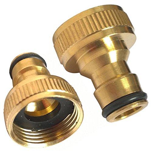 Raccord adaptateur pour robinet de tuyau d'arrosage - Pour le jardin - Connexion rapide - En laiton - Filetage : 1,9 cm