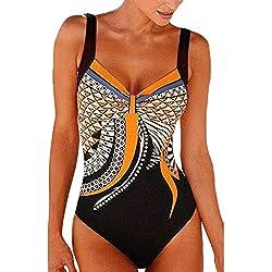 Kinlene Femme Vintage Backless Maillot de Bain 1 pièce Elégant Amincissante Push Up Slim Imprimé Bikini Taille Haute Maillot Une pièce Elégant Chic