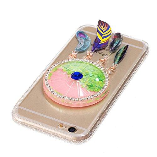 iphone 7 hülle glitzer, LuckyW Traumfänger TPU Silikon Transparente Handyhülle für Apple iPhone 7 7s(4.7 zoll) Traumfänger 3D Bling Glitter Glitzer Flowing Fließend Liquid Flüssig Shinny Moving Star F Grün