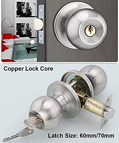 Stainless Steel Entracne Passage Door Handle Lock Knobs Lockset - Key Locking - Copper Lock Core - Latch Size 60/70mm