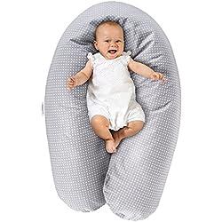 Theraline Stillkissen & Lagerungskissen - Dodo Pillow Premium - 180 cm | Inkl. Bezug aus Baumwolle - Füllung: leise & feine Mikroperlen, schadstoffgeprüft, maschinenwaschbar - Punkte Grau