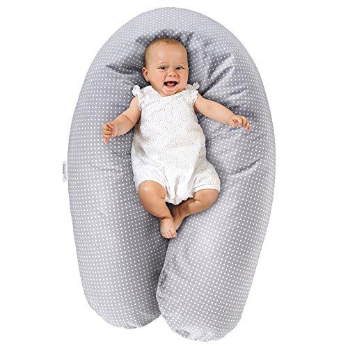 Theraline Stillkissen & Lagerungskissen - Dodo Pillow Premium - 180 cm | Inkl. Bezug aus Baumwolle - Füllung: leise & feine Mikroperlen, schadstoffgeprüft, maschinenwaschbar - Punkte Grau -