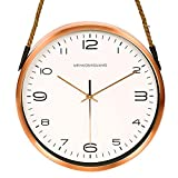 Reloj de pared simple Estilo nórdico personalidad creativa del reloj de pared reloj de mesa moderno reloj de pared moderno mudo salón cuerda cuerda cuerda de cáñamo reloj de metal 10 pulgadas