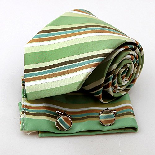 PH1094 Beautiful Design Green Stripes Woven Silk Tie Hanky Cufflinks Gift Box Set Forest Green Mens Presents By Epoint