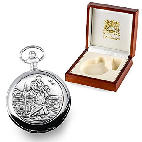Godson Baptism Gift, Engraved St Christopher Mother of Pearl Pocket Watch in a Quality Wood Gift Box
