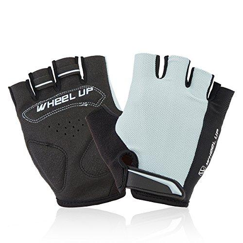 Alamor Universy Motorrad Reiten Halbfinger Fingerlos Handschuhe Größe S-Grau