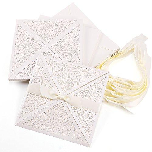 10er Einladungskarten Elegante Blumen Spitze Design mit Karten, Umschläge, Einlegeblätter zum Selbstbedrucken Hochzeit Geburtstag Taufe Party Einladung