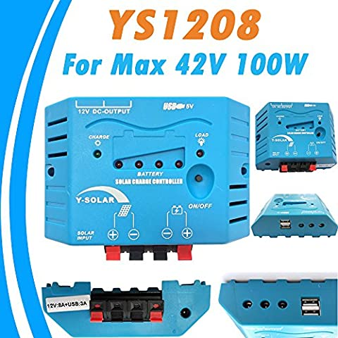 Y-SOLAR 8 A 12 V Solar cargador controlador dual usb salida PWM regulador solar de LED para Max 42 V 100 W Panel Solar