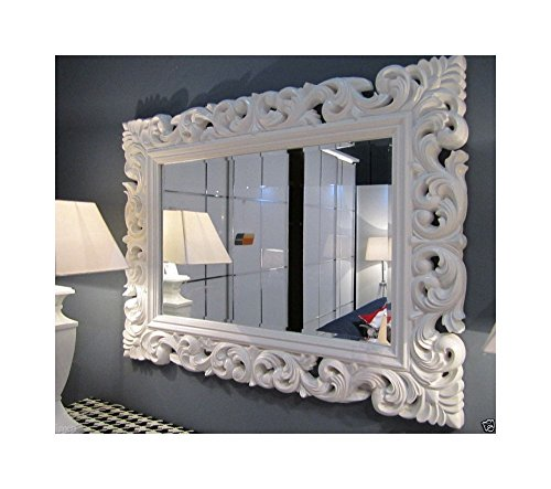 Lnxp XXL Wandspiegel Antik Rokoko 120 x 90 cm Barock Weiß Florenza UVP 899€ Spiegel Woe