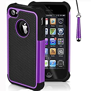 Mobile-Heaven Apple iPhone 4 4S Premium Purple Shock Proof Case Cover Includes Screen Protector, Cleaning Cloth And Stylus Pen