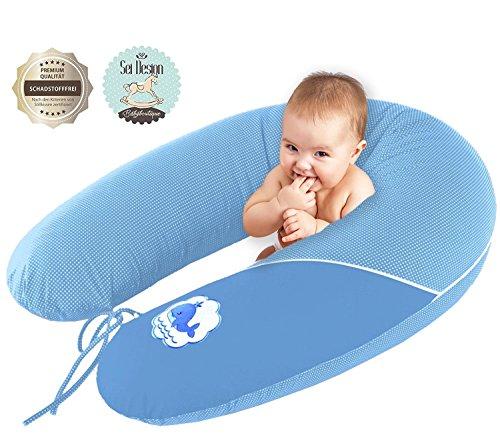Sei Design Stillkissen Schwangerschaftskissen XXL 190 x 30cm | Füllung: schadstoffgeprüfte 3-D Faserbällchen Ökotex zertifiziert. Bezug mit Reißverschluss und hochwertiger Stickerei