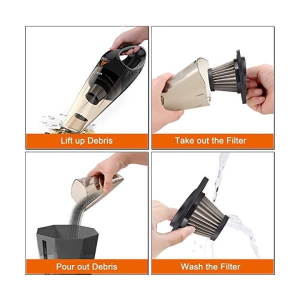 HOTOR Corded Car Vacuum Cleaner with LED Light, DC12-Volt Wet/Dry Portable Handheld Auto Vacuum Cleaner for Car,16.4… 7