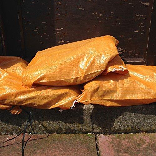 12x Yuzet polipropilene tessuto beige contro le inondazioni, sacchi di sabbia a prova di UV