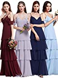 Ever Pretty Frauen elegante A-Line Lang V-Ausschnitt Rüschen verstellbare Brautjungfern Kleid 36 Größe Navy Blau