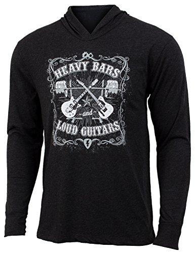Jumpbox Fitness Heavy Bars und Lauter Gitarren-Schwarz-Herren Barbell Gewichtheben Lange Ärmel Triblend Hoody Workout Shirt, Schwarz, X-Small - Stretch-fit-bar