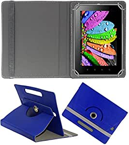DMP 360 Degree Rotating Leather Flip Case Book Cover With Stand For Karbonn Smart Tab 8 - Dark Blue