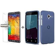 TBOC® Pack: Funda de Gel TPU Azul + Protector Pantalla Vidrio Templado para Vodafone Smart Speed 6. Funda de Silicona Ultrafina y Flexible. Protector de pantalla Resistente a Golpes, Caídas y Arañazos.