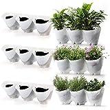 Worth Garten Selbstbewässernd hängende Vertikal 9 Taschen Pflanzgefäße in 3 Paket Weiß, Wasserversorgung, einfaches Stecksystem Pflanzewand