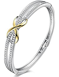 """Forever and Ever""Infinity Bangle Bracelet Birthday Anniversary Gift for Women,Crystal from Swarovski 7"""