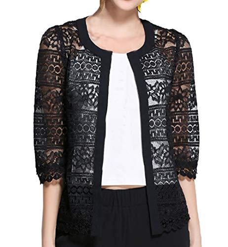 Simple-Fashion Elegant Spitzen Hohl Shawl Tops Strickjacken Outwear Bluse Mantel Sommer Damen Große Größe Cardigan Casual Mode Slim 3/4 Arm Oberteile Bolero
