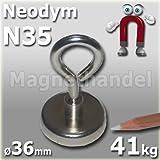 1 Neodym Ösenmagnet Ø 36 mm - Haftkraft ca. 41 kg -