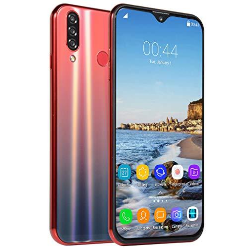 HSKB Nova5 Smartphone ohne Vertrag Günstig | Acht Core 6,3 Zoll | Face Unlock | 2700mAh Akku | 200W + 800W Dual Kamera WiFi GPS 8GB ROM | 64 GB Erweiterbar Dual SIM Android 8,1 (EU) (Rot) 200w Gps
