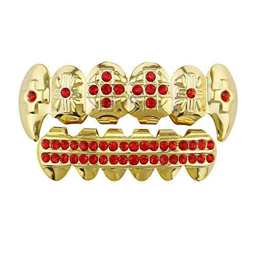 Herren Hip Hop Poker Zahnkappen Unisex Gold Hip Hop Zahngrill Vergoldet Zahngrill Set für Holleween Geschenk Zahngrill Einheitsgröße (Farbe: Rot)